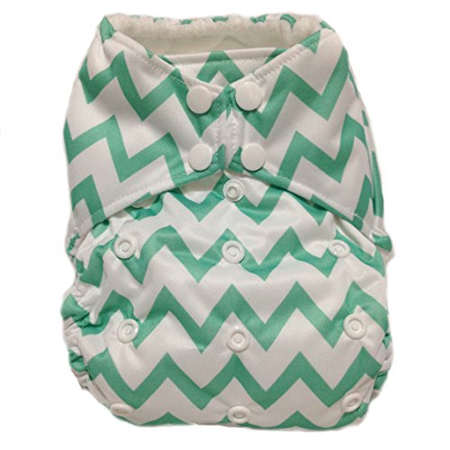 "All In One (AIO) Cloth Diaper ""Green Chevron"""