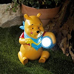 winnie the pooh solar light 24cm winnie eating honey design official disney merchandise. Black Bedroom Furniture Sets. Home Design Ideas