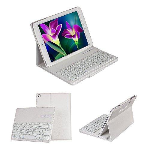 【Ewin】 ipad air ケース/iPad Air2ケース Bluetoothキーボード付 ブルートゥースワイヤレスキーボード 高品質PUレザーケースキーボード取り外し可能 日本JIS基準配列 Bluetooth3.0搭載 保護ケース (日本語説明書と一年の保証付き)(ホワイト)