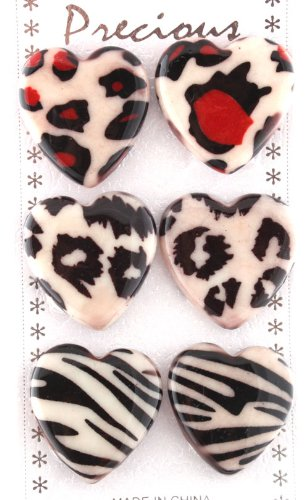 Ladies Unique Multicolored Heart Shape Animal Print Style Clip On Earrings