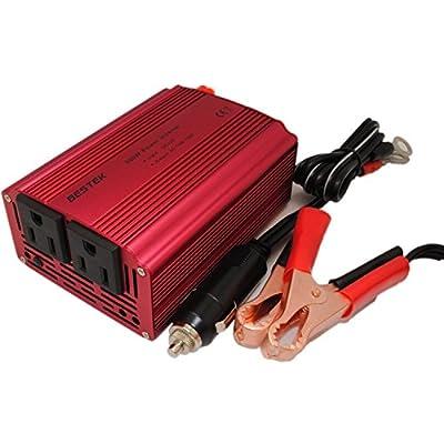 BESTEK® Dual 110V AC Outlets 300w Power Inverter Car DC 12v to 110v AC Inverter DC Adapter Laptop Charger with Battery Clips and Cigarette Lighter Plug