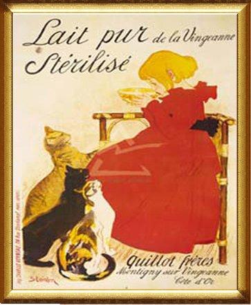 ポスター テオフィル アレクサンドル スタンラン ヴァンジャンヌの殺菌牛乳 額装品 ドルールフレーム-B(ゴールド)