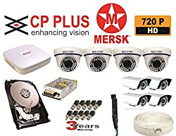 8 CH CP PLUS HD CORAL DVR + 4 HD MERSK 1 MEGA PIXEL DOME CAMERA + 4 HD MERSK 1 MEGA PIXEL BULLET CAMERA + 1 TB HARD DISK + 8 CH MERSK POWER SUPPLY + CCTV WIRE 90 YARDS + 1 AUDIO MIC + BNC CONNECTORS + DC CONNECTORS +3 YEAR WARRANTY + FREE TELEPHONIC INSTALLATION HELP + NO INSTALLATION SERVICE (NOTE:- CAMERAS ARE NOT OF CP PLUS THEY ARE OF MERSK COMPANY MADE IN TAIWAN)