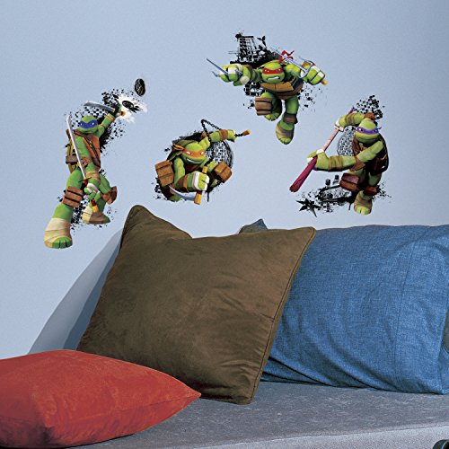RoomMates RMK2769TB Teenage Mutant Ninja Turtles in Action Peel and Stick Giant Wall Decals, 18