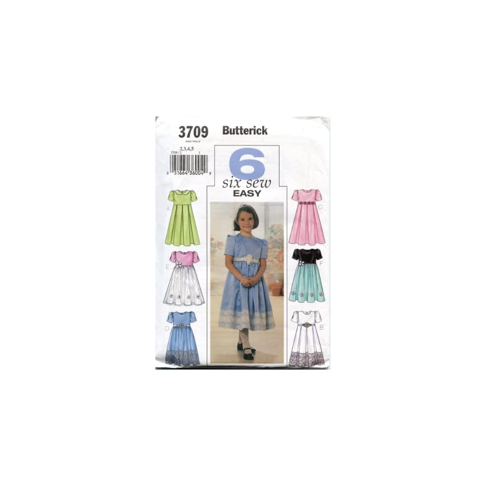 Butterick Sewing Pattern 3709 Sizes 2, 3, 4, 5 Childrens/Girls Dress in Six Styles