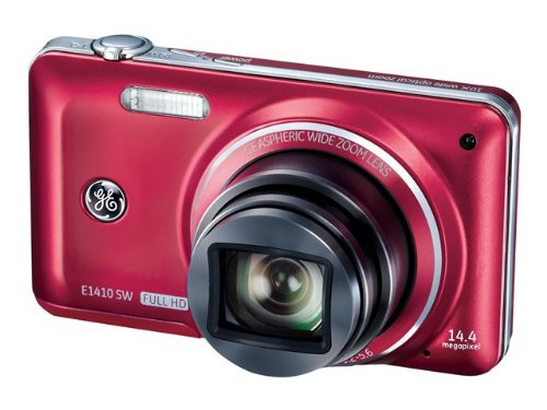 General Imaging Full-HD Digital Camera with 14.4MP, CMOS, 10X Optical Zoom, 3-Inch LCD, 28mm Wide Angle Lens, and HDMI (Red) E1410SW-CR