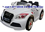 KID'S RIDE ON RECHARGEABLE AUDI STYLE WHITE CAR WITH 4 WAYS PARENTAL REMOTE CONTROL+MP3 AUDIO INPUT