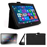 DURAGADGET Executive Black Faux Leather Folio Case With Built In Stand Custom Designed For The Microsoft Surface 10.6 Inch Tablet Hybrid PC (With Windows RT, 32GB, 64GB, Type Cover Keyboard) + FREE Gift: Screen Protector Worth £3.99