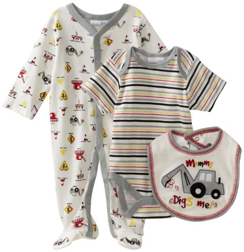 Vitamins Baby Baby-Boys Mommy Digs Me 3-Piece Footed Coverall Set, Off-white, 9 Months