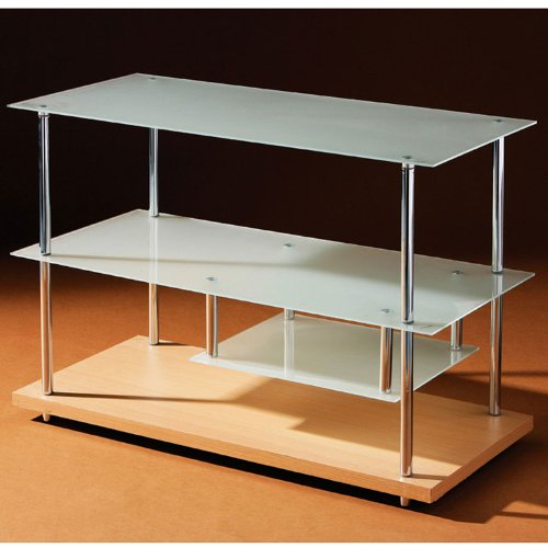 Stack - 3 Tier Glass Shelving Unit / Tv Table - Beech