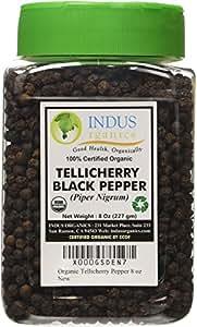 Indus Organics Black Pepper, Tellicherry, 8 Ounce