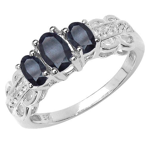 The Sapphire Ring Collection: Ladies Sterling Silver 3 Stone Black Sapphire Engagement Ring with White Topaz Set Shoulders (Size S)