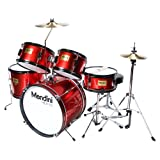 Mendini MJDS-5-BR Complete 16-Inch 5-Piece Bright Red Junior Drum Set with Cymbals, Drumsticks and Adjustable Throne