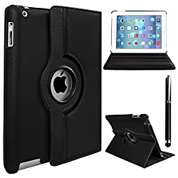 Gioiabazar 360 Rotating Pu Leather Case Cover For Apple Ipad 2 3 And New Ipad 4 Black + Tempered Glass Screen Protector + Stylus