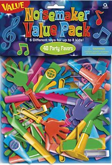 Noisemaker Value Pack Pinata Filler - Party Favors (48) - 1