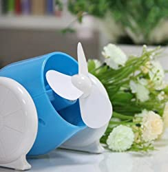 Geekgoodies Cannon Mini USB / Battery Operated Desk Table Fan (Blue)