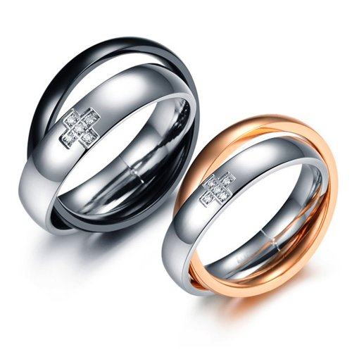 U2U Jewelry Stainless Steel 2 Tone Clear Cz Cross Couples Engagement Wedding Bands Rings For Men And Women (Rose Gold, 5)