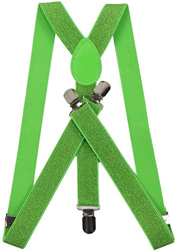 ORSKY lime green suspenders mens braces for trousers heavy suspenders Green_1 (Glitter Suspenders)
