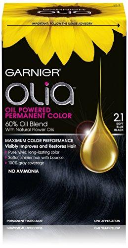 Garnier Hair Color Olia Oil Powered Permanent Hair Color, 2.1 Soft Blue Black