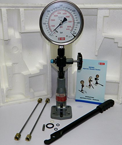 Diesel Injector Nozzle Pop Tester with 600 BAR / 0 - 8500 PSI Dual Scale Gauge