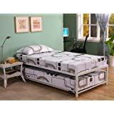 Twin Size White Finish Metal Day Bed (Daybed) Frame & Pop Up Trundle