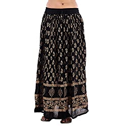Fashiana Women's Cotton Long Skirt(FSKT302RN_Black_Free Size)