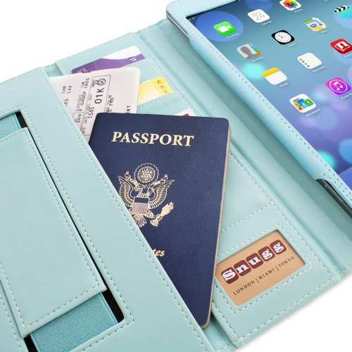 Snugg Ipad Air (Ipad 5) Card Slot 'Executive' Leather Case In Baby Blue - Flip Stand Cover With Card Slots, Pocket, Elastic Hand Strap And Premium Nubuck Fibre Interior - Automatically Wakes And Puts The Apple Ipad Air (Ipad 5) To Sleep front-348832