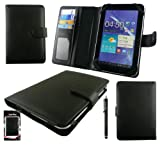 Emartbuy® Black Stylus + Black PU Leather Book Case Wallet Cover With Card Slots Suitable for Prestigio Multipad 7.0 Prime Duo 7 Inch