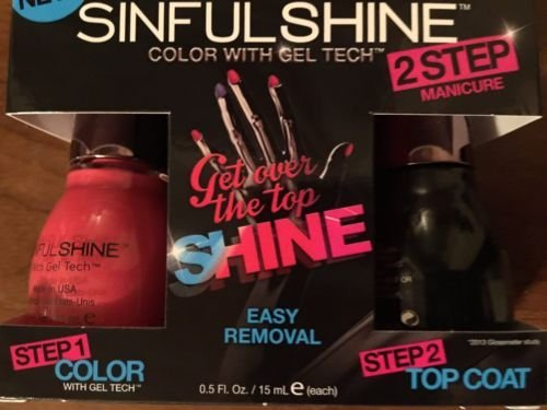 SinfulColors SinfulShine Nail Polish with Gel Tech - 2 Step Manicure - All The Rage #1604 & Top Coat #1600 Bundle by Sinful Colors