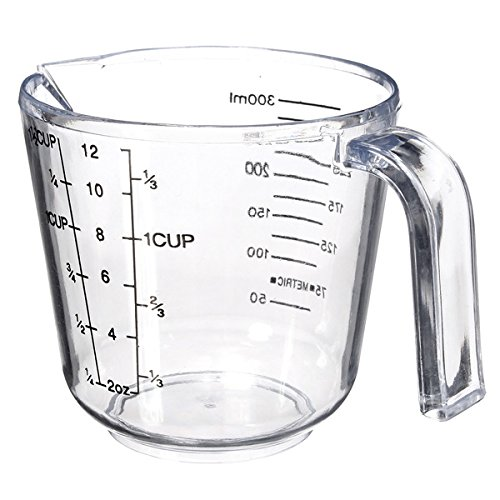 """300ml Clear Plastic Measuring Baking Cups Handle Pour Spout Container"" shopping"