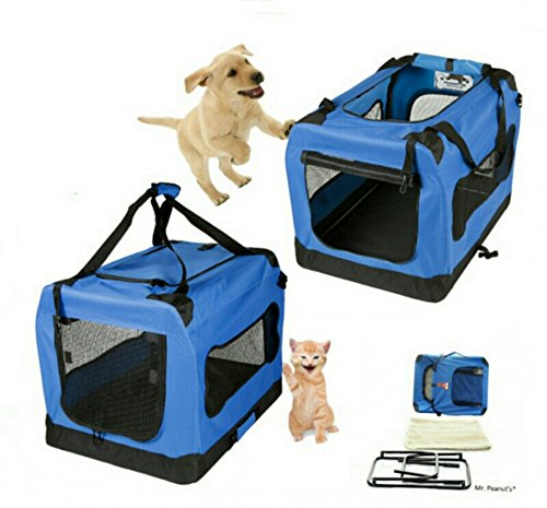 Mr. Peanut's® Deluxe Foldable Soft Sided Travel Pet Carrier * Available as 20″, 24″, 28″ and 32″ * Fleece Bedding Makes Your Pet Feel Comfy * Great Portable Dog House – (Small 19.5″ x 13.5″ x 13.5″)