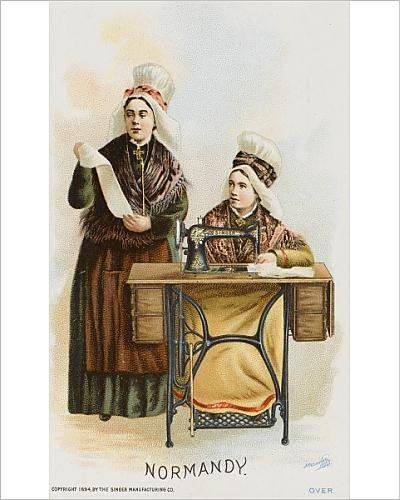 Photographic Print Of Two Women From Normandy Using A Singer Sewing Machine