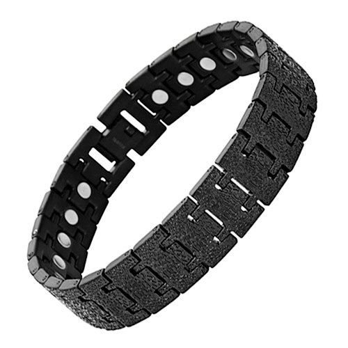 Brand New Mens Black Titanium Magnetic Bracelet In Velvet Box with Free Link Removal Tool
