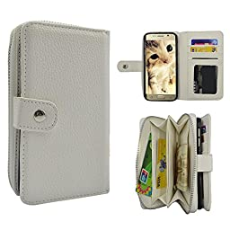 Galaxy S6 Case, TURF Pure Series PU Leather Wallet Zipper Case Detachable Folio Flip Holster Carrying Case with Card Slot Wrist Strap for Samsung Galaxy S6 (White)