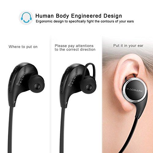 COULAX QY8 Auriculares Inalámbricos Cascos Deportivos Bluetooth 4.1 de Manos Libre Estéreo Resistentes al Sudor con Mic/APT-X para iPhone 6s, Samsung Galaxy S6 y S5 y teléfonos Android, Color Negro