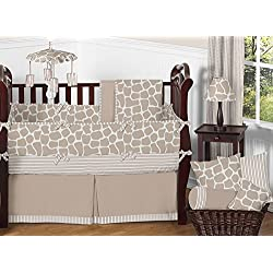 Sweet Jojo Designs Modern Animal Giraffe Print Neutral Baby Boy Girl Unisex Bedding 9 pc Crib Set