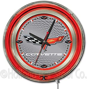 Corvette - C6 15 Double Neon Ring Logo Wall Clock Color: Silver Red by Holland Bar Stool