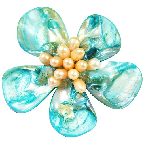 Pearl Brooch Pin - 5-6mm Pink Fresh Water Pearl And Blue Shell Brooch (Br0032)