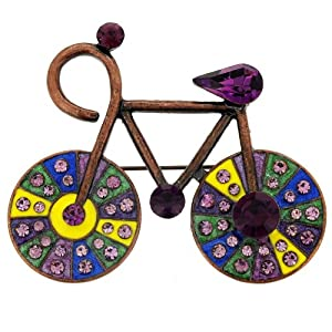 Vintage Style Amethyst Bicycle Pin Brooch