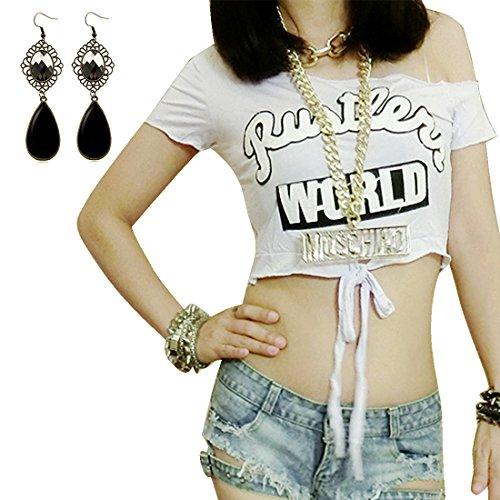 Sitengle Donna T-shirt a Maniche Corte Senza Spalline Midriff Lettere Stampate Maglia Bluse Corta Camicia Camicetta Tops