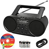 Sony Portable Full Range Stereo Boombox Sound System With MP3 CD Player AM/FM Radio 30 Presets USB Input Headphone...