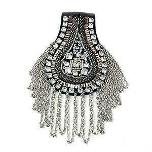 Schulterstück Schulterklappen PUNK Gothic Metall Textil mit Strass Luxus