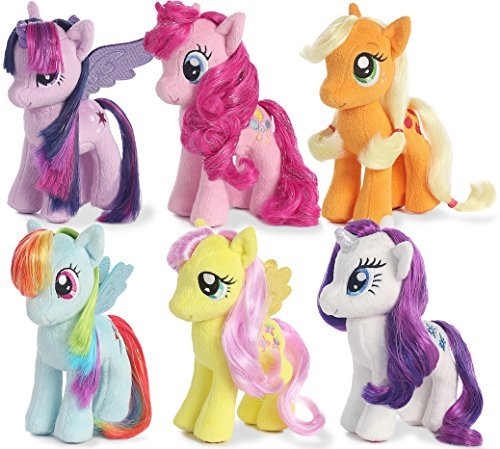 "My Little Pony Friendship Magic Collection: Rarity, Pinkie Pie, Applejack, Fluttershy, Rainbow Dash, Twilight Sparkle 6.5"" tall plush toys with sparkle hair 2015 version"