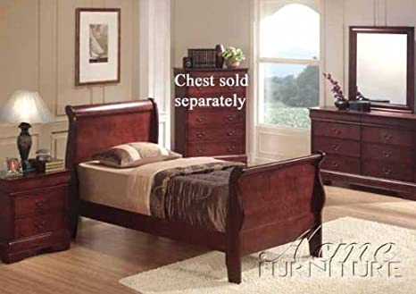 4PC Cherry Finish Twin Bedroom Set