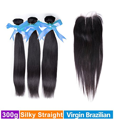 Rechoo Brazilian Virgin Remy Straight Hair 3 Bundles 300g with 4x4 Lace Closure Human Hair Extensions Bundles with Free Part Closure(14 16 18+14) (Rain Hair Weave Bundles compare prices)