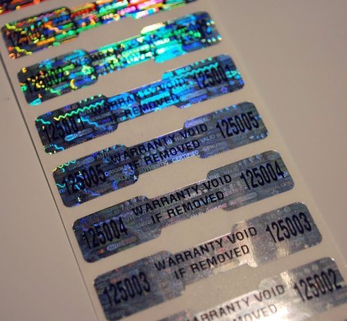 100 High Security Tamper Evident Warranty Void Dogbone Hologram Labels/Stickers w/ Unique Sequential Serial Numbering and Bar Code (Tamper Resistant Sticker compare prices)