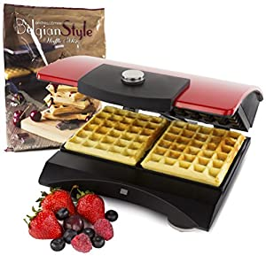 Andrew James Luxury Double Belgian Waffle Maker In Stunning Red, Includes 1kg Andrew James Luxury Belgian Style Waffle Mix