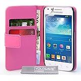 Yousave Accessories Samsung Galaxy Core Plus Tasche Dunkelrosa PU Leder Brieftasche Hülle