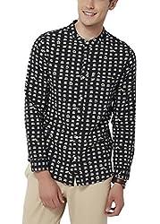 Chumbak Men's Casual Shirt (8904218042598_CMMCS004 S_Small_Black)