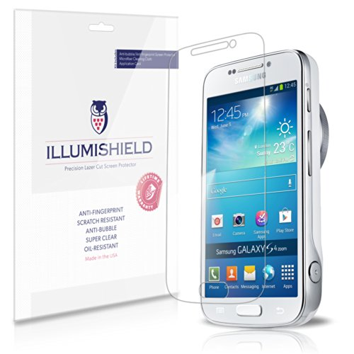 Illumishield - Samsung Galaxy S4 Zoom Screen Protector Japanese Ultra Clear Hd Film With Anti-Bubble And Anti-Fingerprint - High Quality (Invisible) Lcd Shield - Lifetime Replacement Warranty - [3-Pack] Oem / Retail Packaging